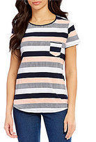 Westbound Crew Neck Short Sleeve Seamed Stripe Tee