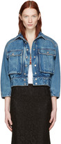 Dolce & Gabbana Blue Cropped Denim Jewelled Jacket