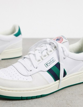 Polo Ralph Lauren sneaker in white with constrasting green stripe
