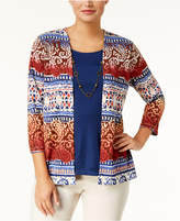 Alfred Dunner Layered-Look Necklace Cardigan
