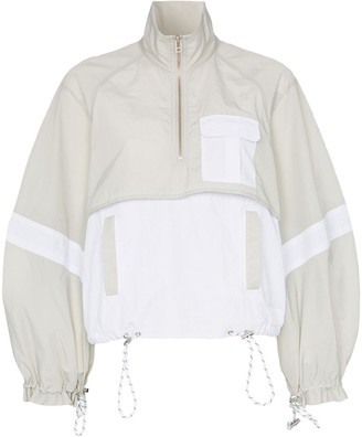 Ganni two-tone cropped track jacket