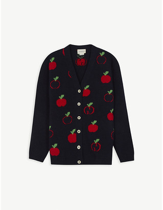 Gucci Apple logo-print wool cardigan 6-12 years