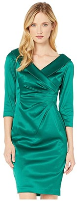 Tahari ASL 3/4 Sleeve Stretch Satin Cocktail Dress w/ Side Drape and Portrait Neckline (Emerald) Women's Clothing
