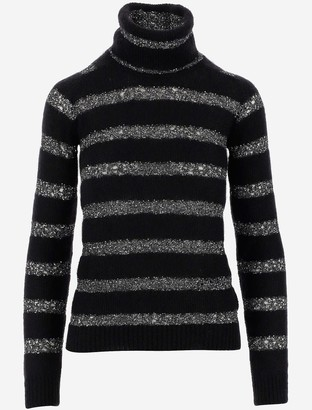 Saint Laurent Mohair and lurex Striped Women's Turtleneck Sweater