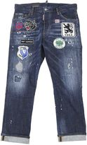 DSQUARED2 Patched Blue Denim Glam Jean Head Jeans