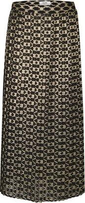 Celine Long Pleated Skirt In Jacquard Triumph Pattern
