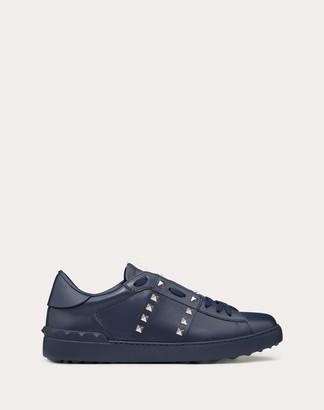 Valentino Garavani Uomo Rockstud Untitled Sneaker In Marine Calfskin Man Marine 100% Pelle Di Vitello - Bos Taurus 40