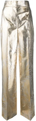 Sara Battaglia Foliage Print Wide Leg Trousers