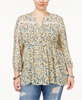 American Rag Trendy Plus Size Tie-Waist Peasant Blouse, Only at Macy's