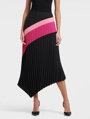 DKNY Pleated Asymmetrical Color Block Skirt