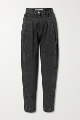 IRO Vangir Pleated High-rise Tapered Jeans - Black