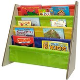 Sorbus Kids Bookshelf - Bright Primary Color Pockets Toddler Bookcase -Features Sling Pockets for Books & Toys-Great for Bedroom, Playroom, Book Store, Classroom, Toddler Gym, Daycare, etc (Natural)