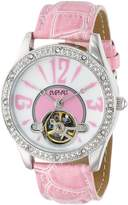 August Steiner Women's AS8034PK Crystal Skeleton Strap Watch