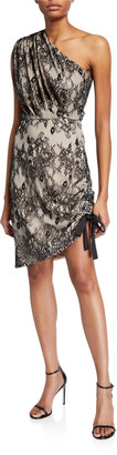Jay Godfrey Arthur One-Shoulder Mesh Lace Mini Dress