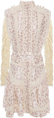 Zimmermann Ruched Lace And Floral-print Silk-satin Mini Dress