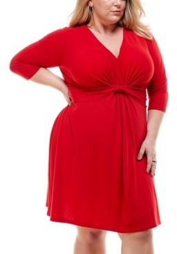 Kingston Grey Trendy Plus Size Twist-Front Fit & Flare Dress