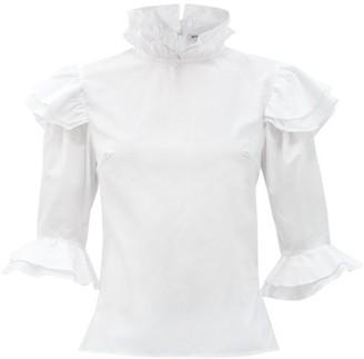 Batsheva Antoinette High-neck Ruffled Cotton Blouse - White