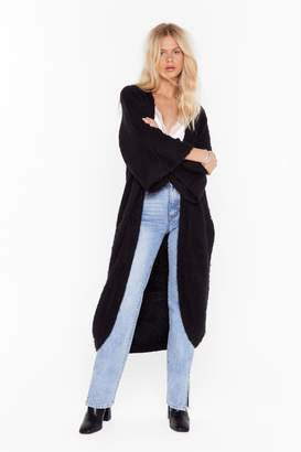 Nasty Gal Womens Can't Stop Knit Now Longline Cardigan - black - S/M