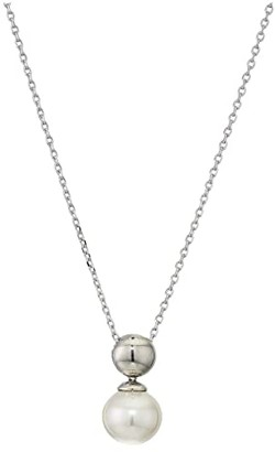 Majorica 10 mm Infinity Round Pearl Button Pendant Necklace (White) Necklace