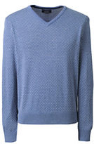 Lands' End Men's Supima Cotton Jacquard V-neck Sweater-White