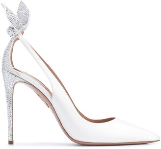 Aquazzura 105mm Bow Tie crystal pumps