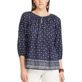 Chaps Petite Printed Georgette Blouse