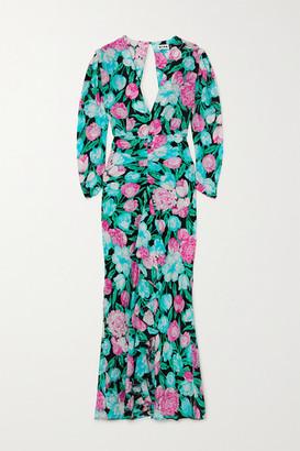 Rixo Paloma Open-back Floral-print Silk Crepe De Chine Midi Dress - Pink