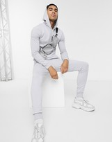 Asos Design DESIGN muscle tracksuit with hoodie in light gray
