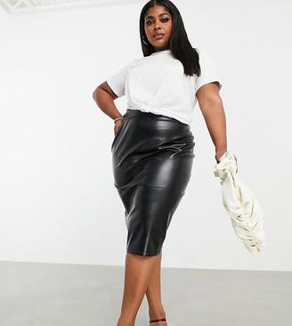 ASOS DESIGN Curve leather look midi skirt in black