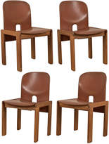 Rejuvenation Set of 4 Maple & Leather Cassina Dining Chairs