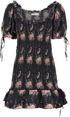 LoveShackFancy Violet Puff-Sleeve Mini Dress