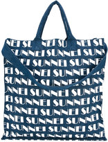 Sunnei logo print shopper tote - men - Cotton - One Size