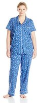 Nautica Women's Plus-Size Two-Piece Long Pajama Set