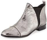 Alexandre Birman Carly Python Flat Chelsea Boot, Silver