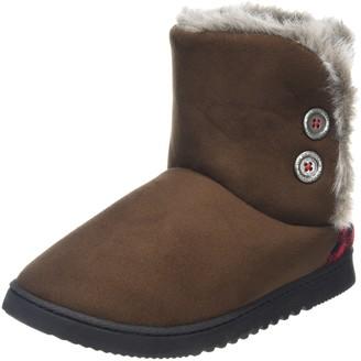 Dearfoams Womens Two-Button Boot with Memory Foam Hi-Top Slippers Brown (Espresso 00205) 3-4 Uk (36-37 EU)