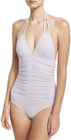 L-Space L Space Solid Ruched Halter One-Piece Swimsuit, Amethyst