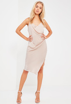 Missguided Nude Silky Wrap Cami Midi Dress