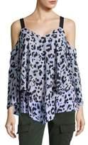 Ellen Tracy Petite Leopard-Print Cold-Shoulder Blouse