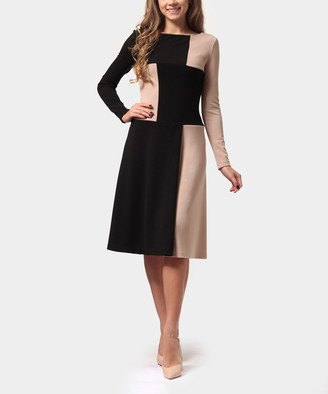 LADA LUCCI Women's Special Occasion Dresses Sand - Sand & Black Color Block Long-Sleeve A-Line Dress - Women