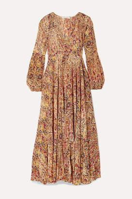 Mes Demoiselles Passiflore Paisley-print Crepe De Chine Maxi Dress - Mushroom