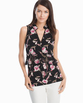 White House Black Market Sleeveless High Neck Floral Top
