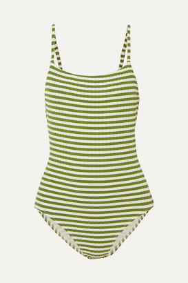 Solid & Striped The Nina Striped Ribbed Stretch-knit Swimsuit - Green