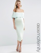 Asos Midi Bardot Pencil Dress With Ruffle