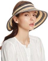 Bettina Braided Straw Ribbon Stripe Visor