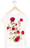 Dolce & Gabbana Girls' Rose Print Silk Top