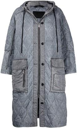 Diesel Hooded Nylon Quilted Coat