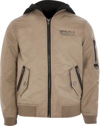 River Island Boys Beige Prolific hooded bomber jacket