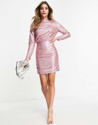 Club L London Club L sequin high neck sequin mini dress in blush