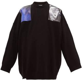 Raf Simons Oversized Print Patch Wool Sweater - Mens - Navy
