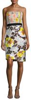 Oscar de la Renta Silk Floral Jacquard Strapless Dress